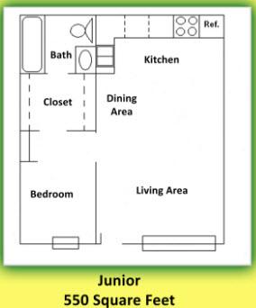 400 sq. ft. floor plan