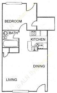 510 sq. ft. A1 floor plan