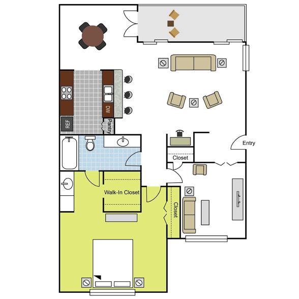 1,035 sq. ft. A7 floor plan