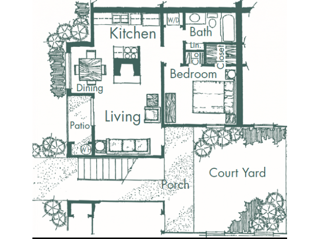 550 sq. ft. C floor plan