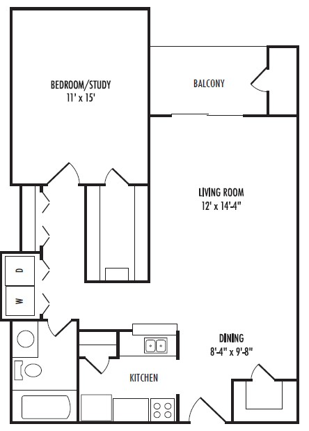 756 sq. ft. A floor plan