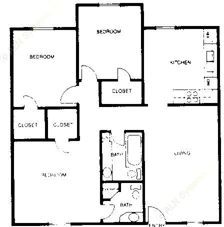 960 sq. ft. C1 floor plan