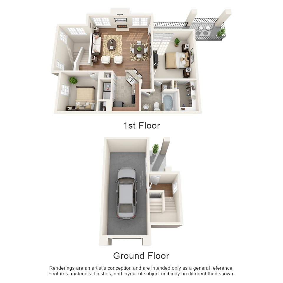 975 sq. ft. Burgundy floor plan