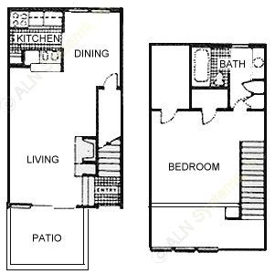 800 sq. ft. Wednesday floor plan