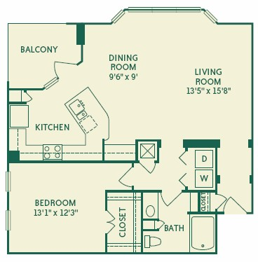 976 sq. ft. 2A4A floor plan