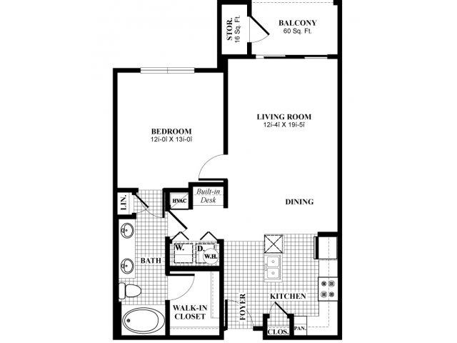 780 sq. ft. A21 floor plan