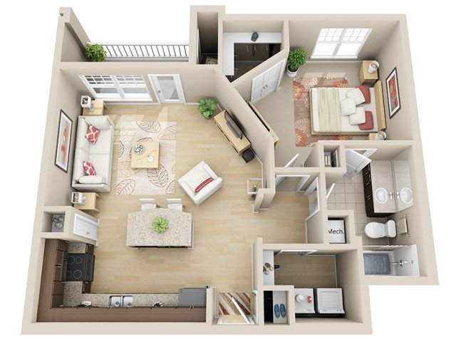 787 sq. ft. A5 floor plan