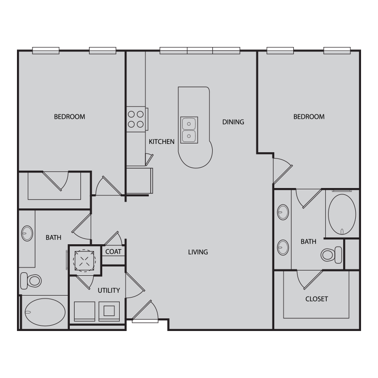 1,174 sq. ft. B1 floor plan