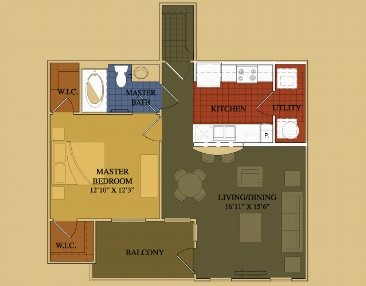 724 sq. ft. Cypress floor plan