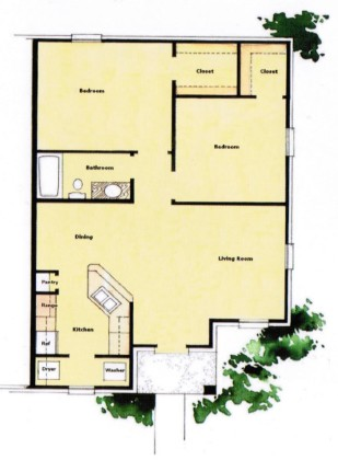 899 sq. ft. 60% floor plan