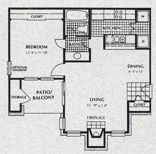 670 sq. ft. A2 floor plan