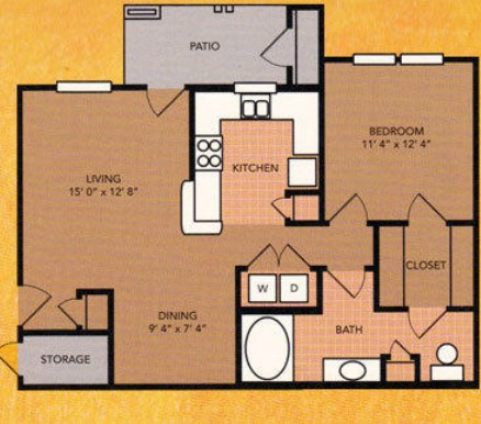 754 sq. ft. floor plan