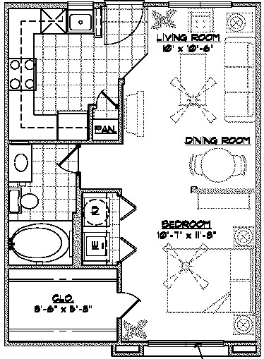 542 sq. ft. A2 floor plan