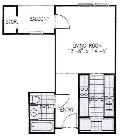 522 sq. ft. EFF floor plan
