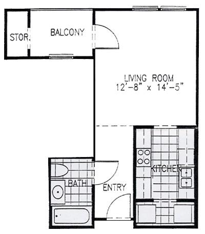 522 sq. ft. EFF floor plan