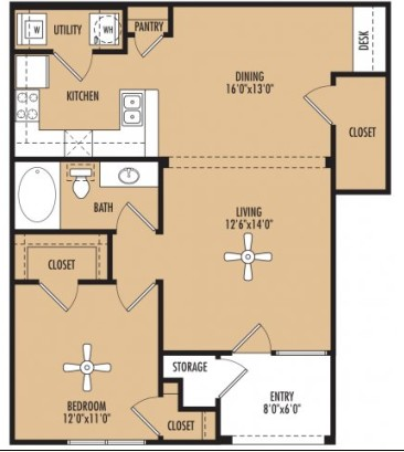 840 sq. ft. floor plan