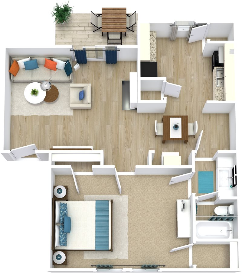 684 sq. ft. Amanda floor plan