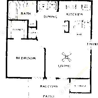 600 sq. ft. Ash floor plan