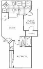 476 sq. ft. A1 floor plan
