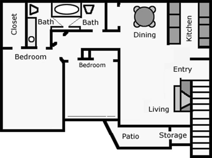 932 sq. ft. Stargazer floor plan