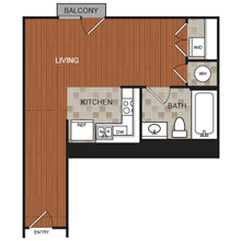 494 sq. ft. C5 floor plan