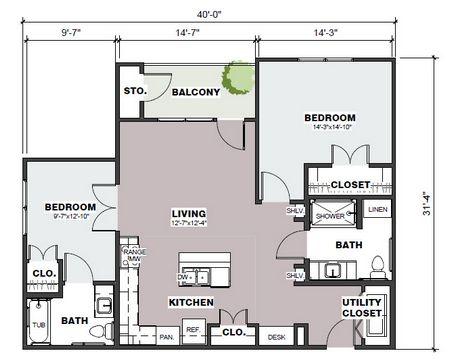 1,045 sq. ft. Chapman/60% floor plan