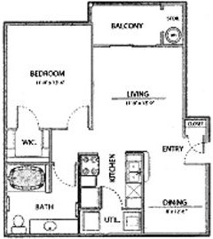 681 sq. ft. A1-Ph I floor plan