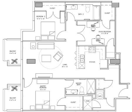 1,405 sq. ft. L floor plan