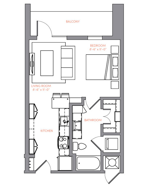 516 sq. ft. S1A.4 floor plan