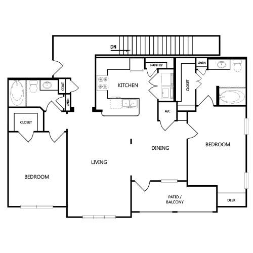 1,162 sq. ft. B4G floor plan