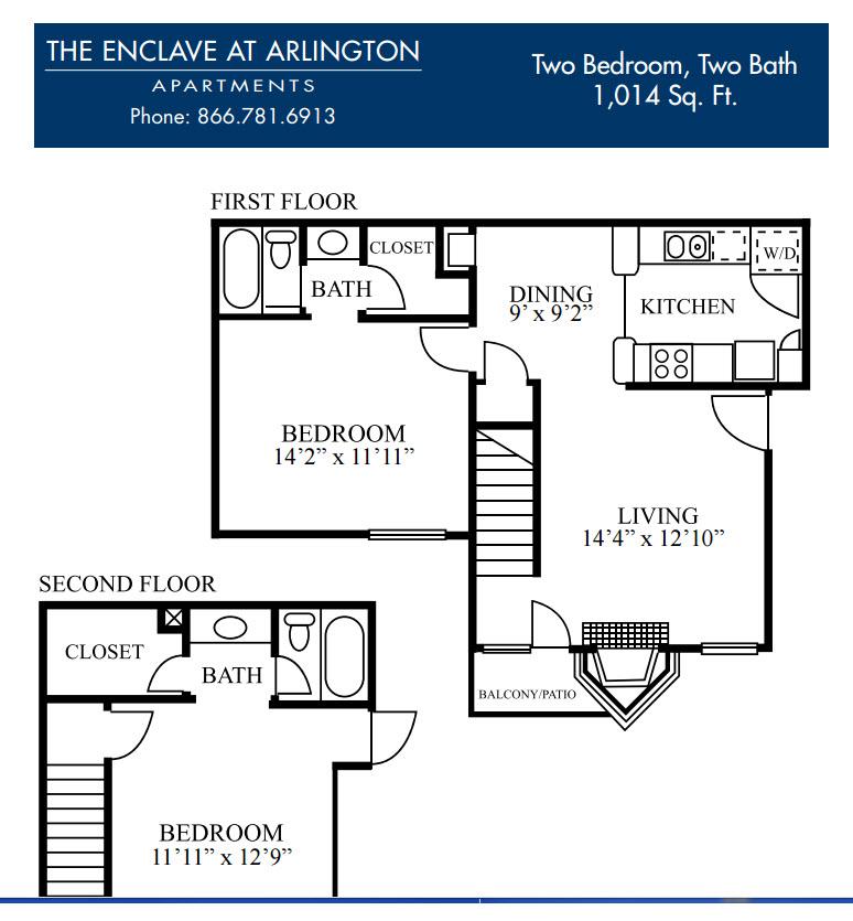 1,014 sq. ft. H floor plan