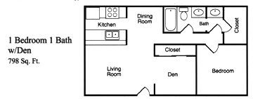 798 sq. ft. D floor plan