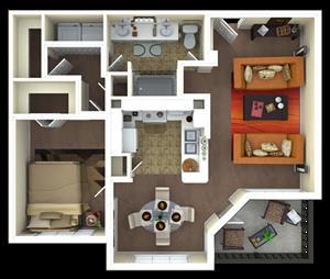 857 sq. ft. A2 floor plan