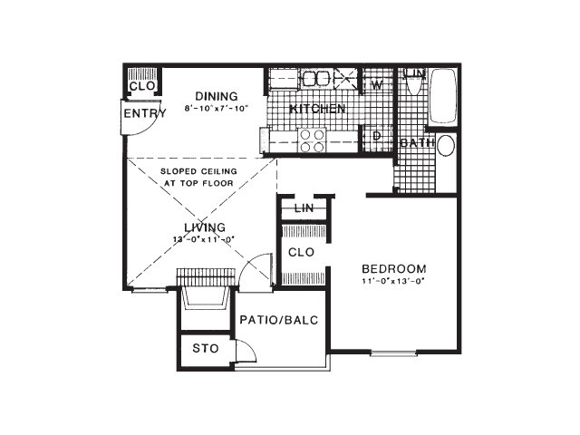 636 sq. ft. A2/UP floor plan