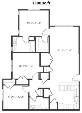 1,300 sq. ft. 60% floor plan