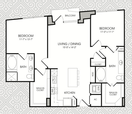 1,194 sq. ft. B4 floor plan