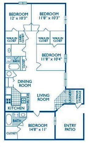 1,417 sq. ft. TRAVIS floor plan