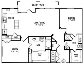 1,199 sq. ft. Pescara/Rockhampton - B2.8 floor plan