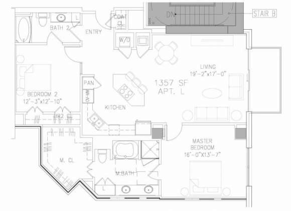 1,357 sq. ft. B1 floor plan