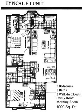 1,009 sq. ft. F1 floor plan