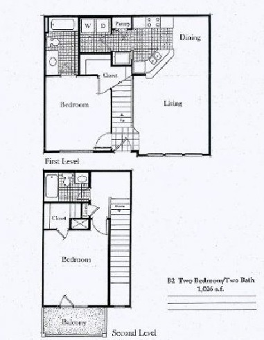 1,038 sq. ft. B1/50% floor plan