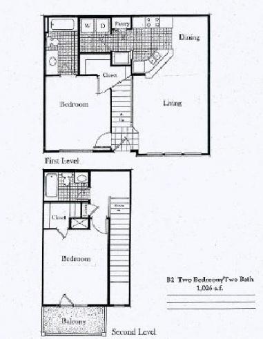 1,038 sq. ft. B1/50% floor plan