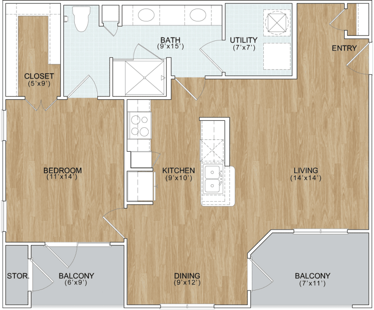 841 sq. ft. Terrace floor plan