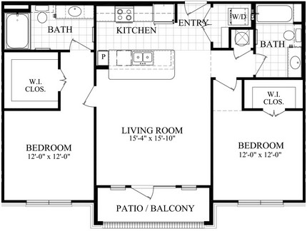 1,068 sq. ft. C floor plan