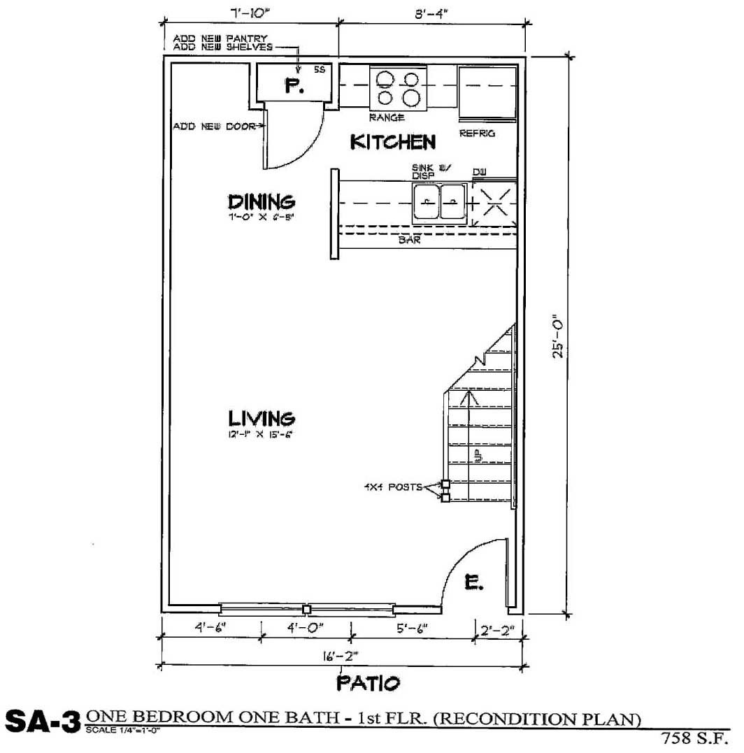 758 sq. ft. SA3/50% floor plan
