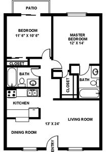 890 sq. ft. C Esquire floor plan
