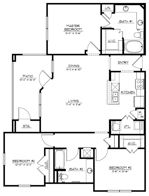 1,343 sq. ft. C floor plan