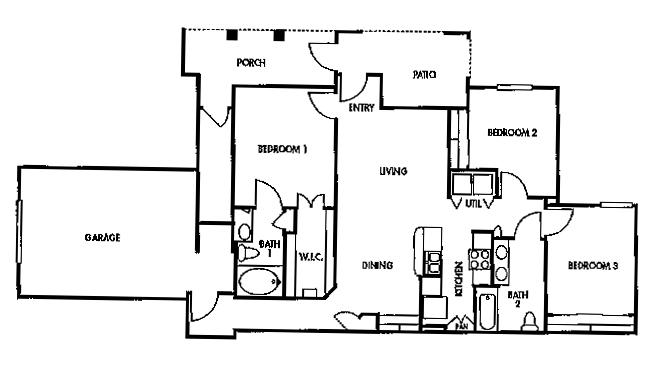 1,210 sq. ft. F3/60% floor plan