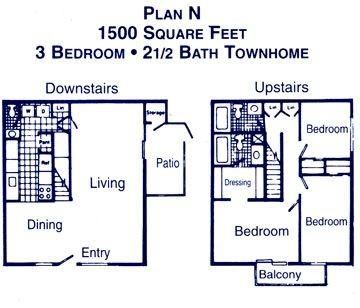 1,500 sq. ft. H floor plan