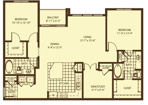 1,324 sq. ft. Piction floor plan